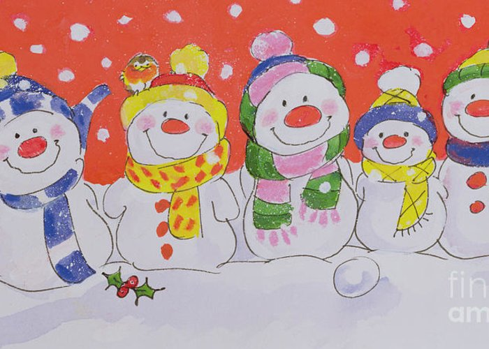 Snow Family (w/c And Ink On Paper) By Diane Matthes (contemporary Artist) Greeting Card featuring the painting Snow Family by Diane Matthes