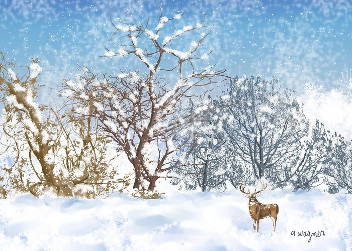Snow Greeting Card featuring the digital art Snow Flurry by Arline Wagner