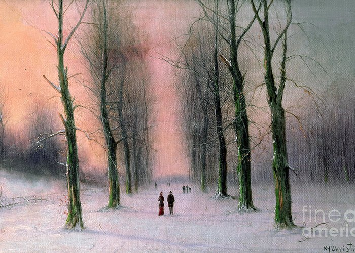 Snow Greeting Card featuring the painting Snow Scene Wanstead Park  by Nils Hans Christiansen
