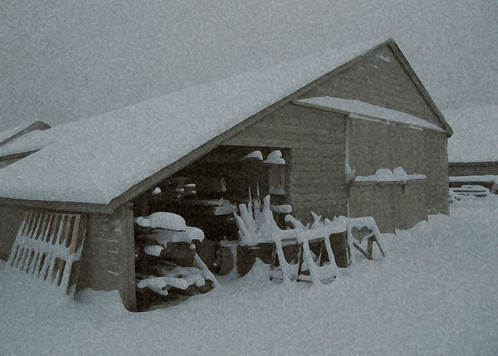 Snow Greeting Card featuring the mixed media Snow Shed by Paul Barlo