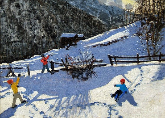 Zermatt Greeting Card featuring the painting Snowballers by Andrew Macara