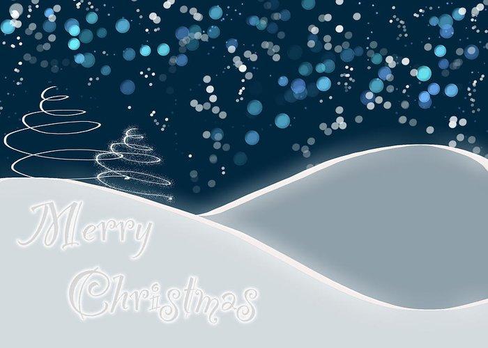 Snow Greeting Card featuring the digital art Snowy Night Christmas Card by Lisa Knechtel