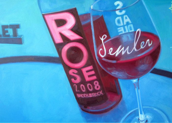 Wine Painting Greeting Card featuring the painting So Malibu by Penelope Moore