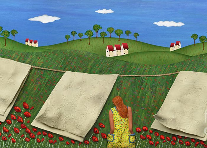 Clothesline Sheets Hanging Greeting Card featuring the mixed media Soft Breeze by Anne Klar