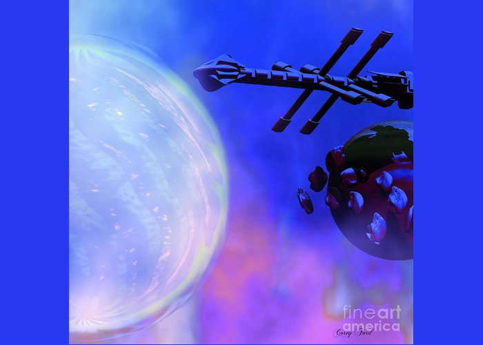 Space Art Greeting Card featuring the painting Solar Nexus by Corey Ford