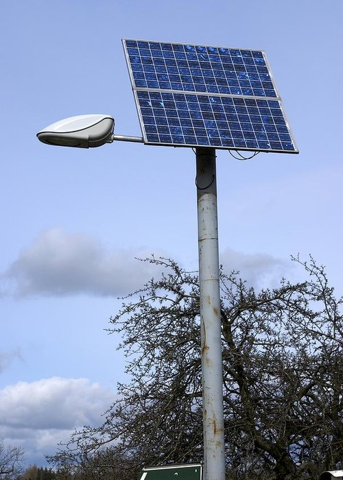 Solar Panel Greeting Card featuring the photograph Solar Powered Street Light, Uk by Mark Williamson