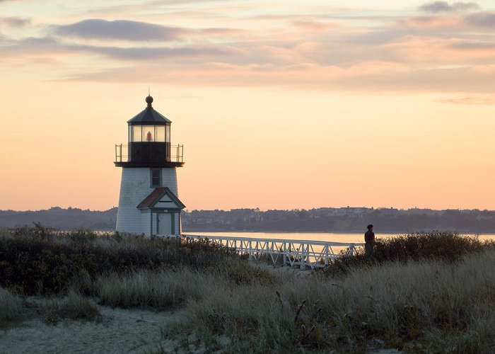Nantucket Greeting Card featuring the photograph Solitude At Brant Point Light Nantucket by Henry Krauzyk