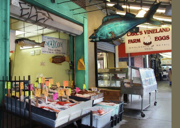 Fish Market Greeting Card featuring the photograph Something's Fishy by Lori Deiter