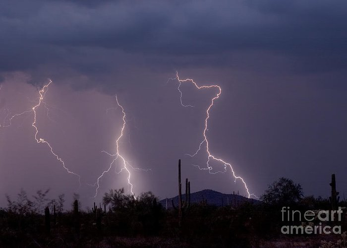 Lightning Greeting Card featuring the photograph Sonoran Storm by James BO Insogna