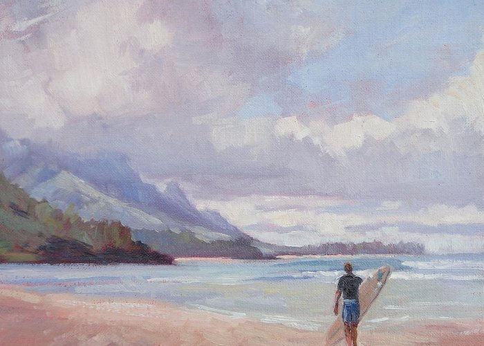 Landscape Greeting Card featuring the painting Soul Surfer by Jenifer Prince