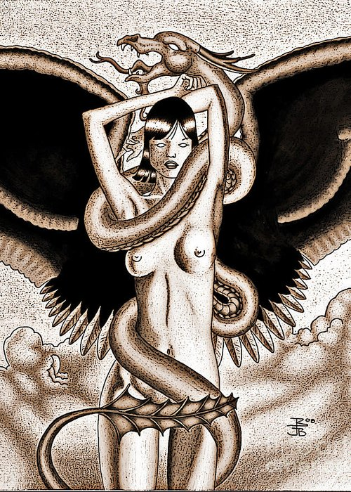 Fantasy Greeting Card featuring the drawing Souls Entwined Antiqued by Robert Ball