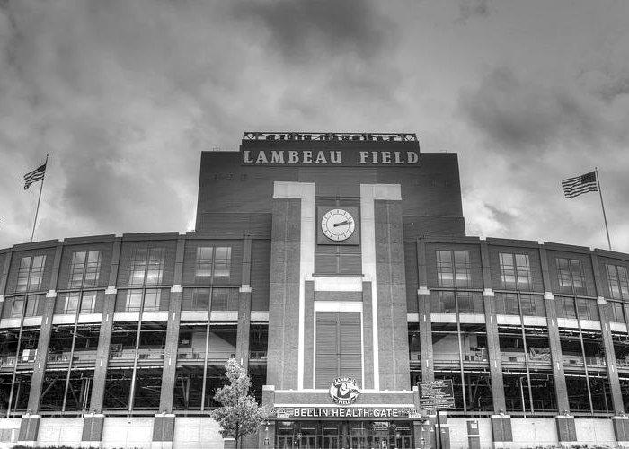 Lambeau Field Greeting Card featuring the photograph South End Zone Lambeau Field by James Darmawan