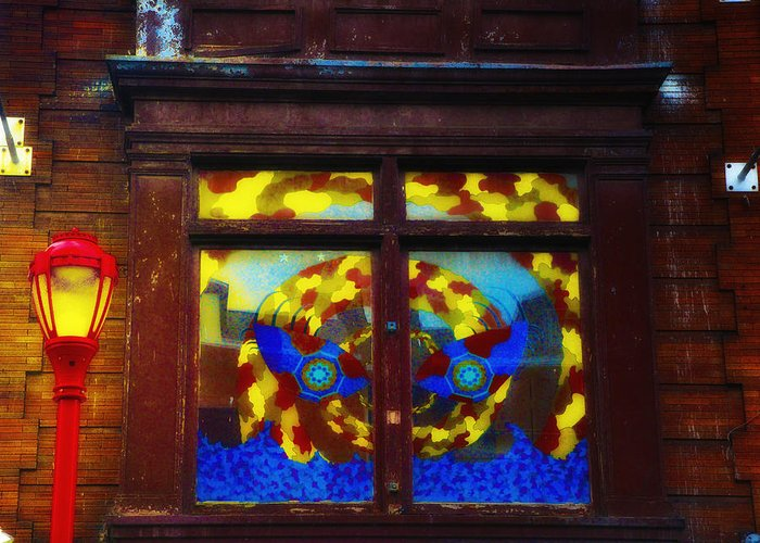 South Street Greeting Card featuring the photograph South Street Window by Bill Cannon