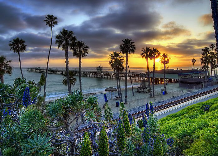 San Clemente Greeting Card featuring the photograph Southern California Sunset by Sean Foster
