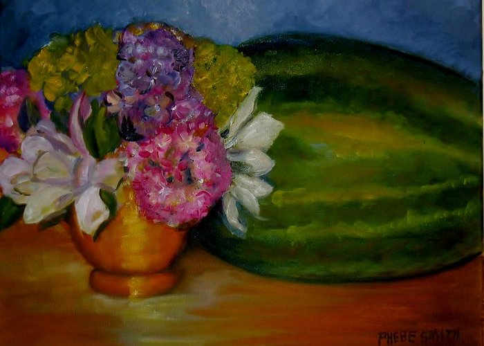Still Life Greeting Card featuring the painting Southern Hospitality by Phebe Smith