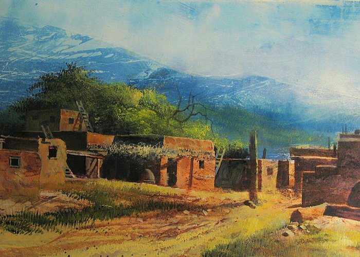 Landscape Greeting Card featuring the painting Southwest Village by Robert Carver