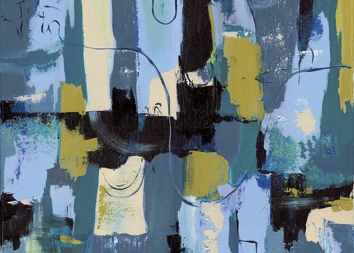 Abstract Greeting Card featuring the painting Spa Abstract 2 by Debbie DeWitt