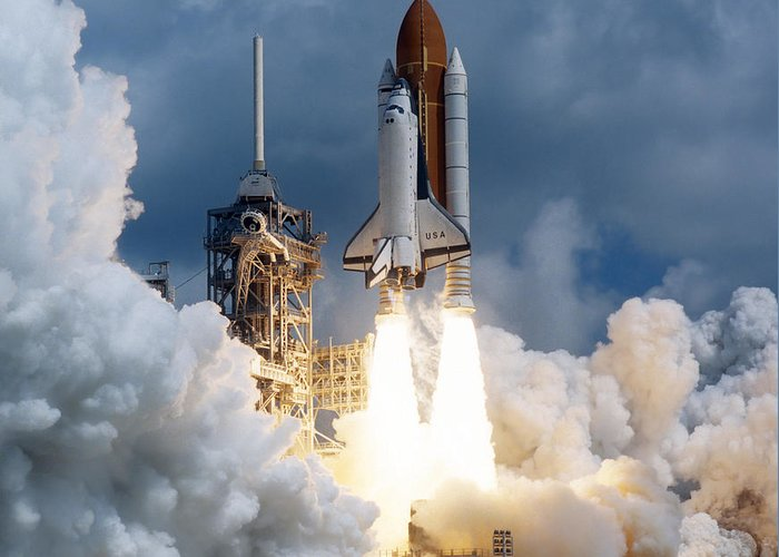 Color Image Greeting Card featuring the photograph Space Shuttle Launching by Stocktrek Images