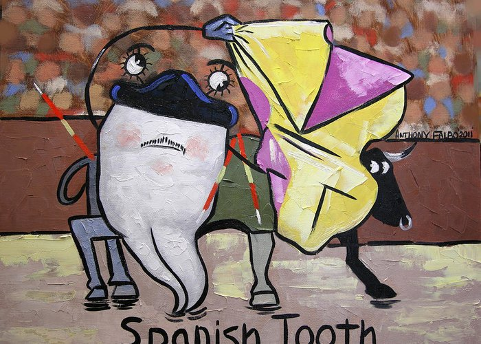 Poster Collectable Dental Art Prints Printed On Fine Art Paper Giclee Prints Fine Art Canvas Dentist Art Bleached Teeth Anthony Falbo Falboart Cubist Cubism Cubestraction Orange Blue Yellow Digital Beautiful Greeting Card featuring the painting Spanish Tooth by Anthony Falbo