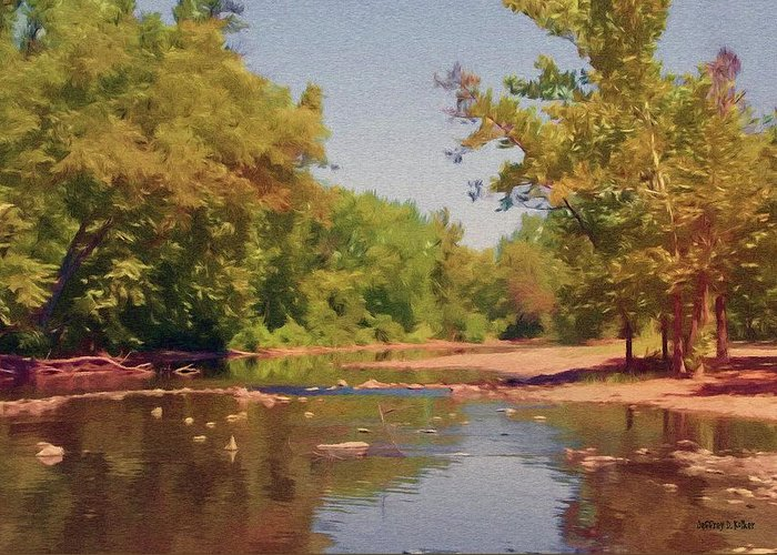 Creek Greeting Card featuring the painting Spavinaw Creek by Jeff Kolker