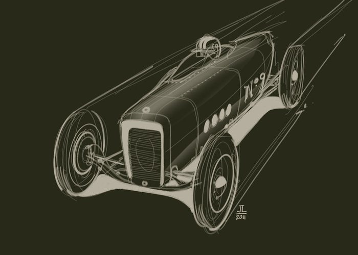 Hot Rod Greeting Card featuring the drawing Speed by Jeremy Lacy