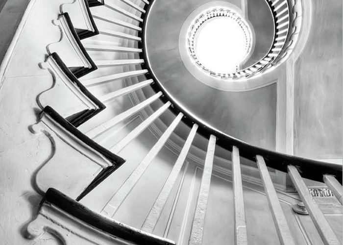 Spiral Staircase Greeting Card featuring the photograph Spiral Staircase Lowndes Grove by Dustin K Ryan