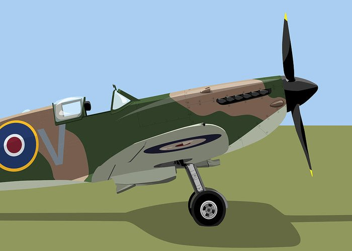 Spitfire Greeting Card featuring the digital art Spitfire Ww2 Fighter by Michael Tompsett