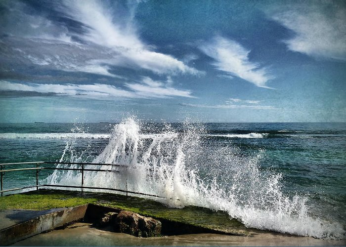 Waves Greeting Card featuring the photograph Splash Happy by Kym Clarke