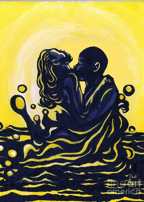 Lovers Painting Greeting Card featuring the painting Splash by Toni Thorne