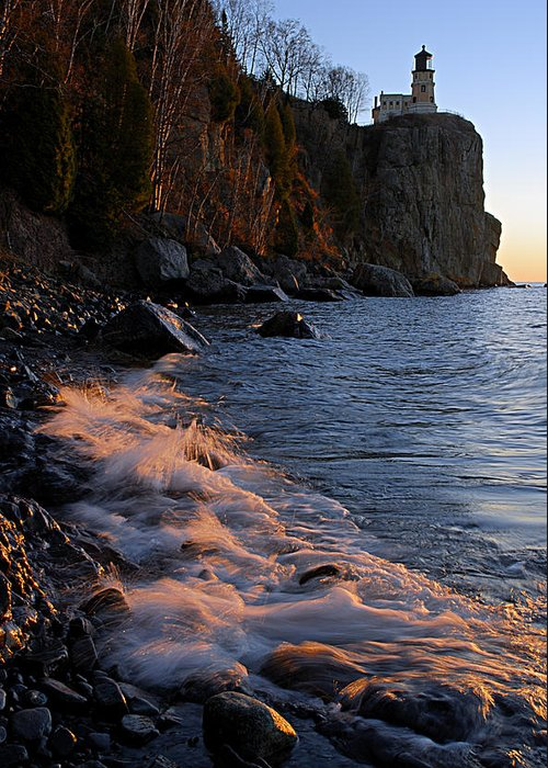 Split Rock Lighthouse Greeting Card featuring the photograph Split Rock Lighthouse At Dawn by Larry Ricker
