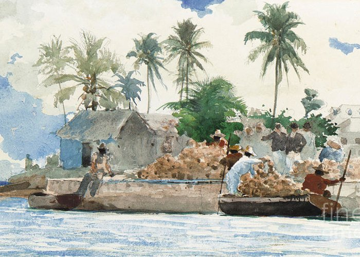 Boat Greeting Card featuring the painting Sponge Fisherman In The Bahama by Winslow Homer