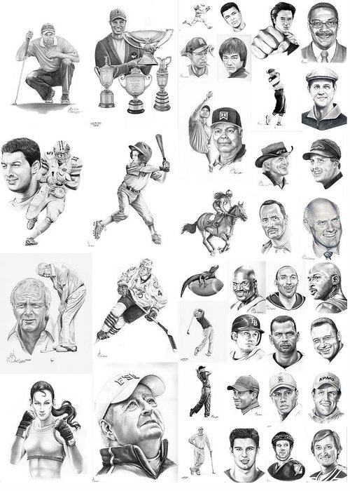 Pencil Greeting Card featuring the drawing Sports Figures Collage by Murphy Elliott