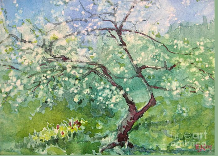 Plum Tree Greeting Card featuring the painting Spring Plum by Elizabeth Carr