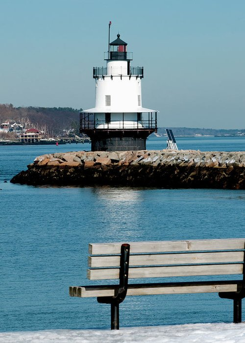 Coast Greeting Card featuring the photograph Spring Point Ledge Lighthouse by Greg Fortier