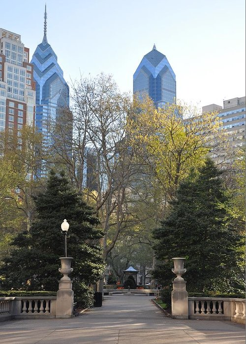 Sprintime At Rittenhouse Square Greeting Card featuring the photograph Sprintime At Rittenhouse Square by Bill Cannon