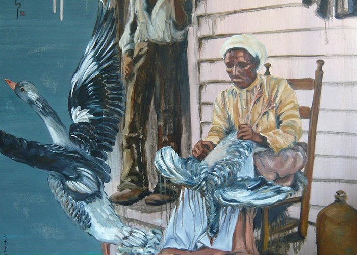 African American Greeting Card featuring the painting Spritted Away by Yuko Nogami Taylor