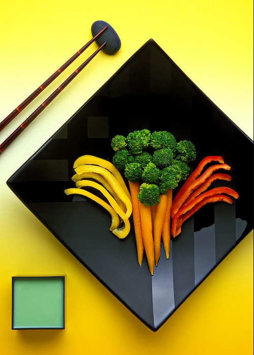Vegetables Greeting Card featuring the photograph Square Plate by Garry Gay