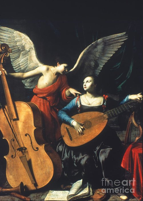 1600 Greeting Card featuring the painting St. Cecilia And The Angel by Granger
