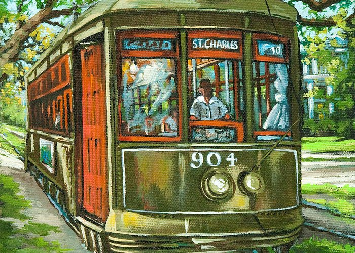 Streetcar Greeting Card featuring the painting St. Charles No. 904 by Dianne Parks