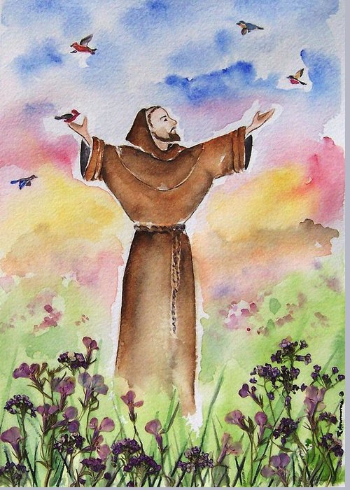 Catholic Greeting Card featuring the painting St Francis Of Assisi by Regina Ammerman