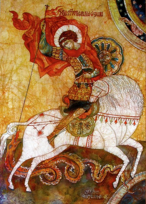 Contemporary Art Greeting Card featuring the painting St George I by Tanya Ilyakhova