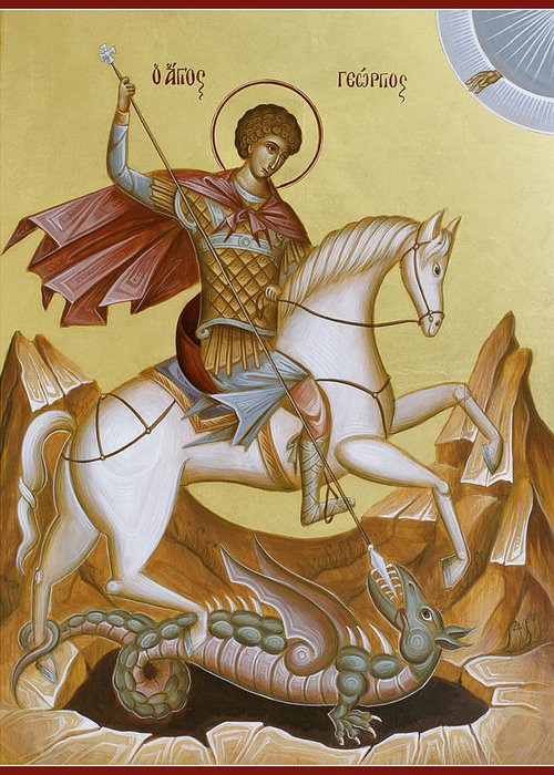 Icon Greeting Card featuring the painting St George by Julia Bridget Hayes