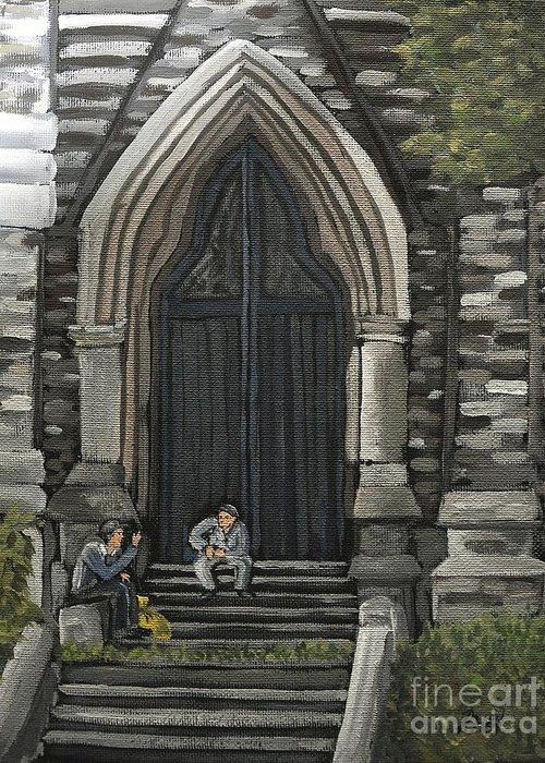 St. George's Church Greeting Card featuring the painting St Georges Parishioners by Reb Frost