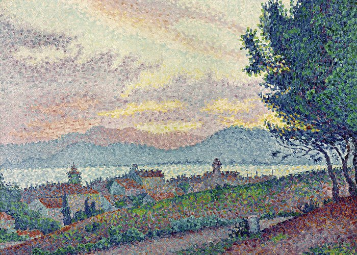 Tropez Greeting Card featuring the painting St Tropez Pinewood by Paul Signac