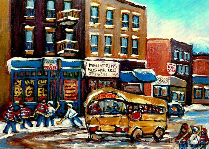 St. Viateur Bagel With Hockey Bus Greeting Card featuring the painting St. Viateur Bagel With Hockey Bus by Carole Spandau