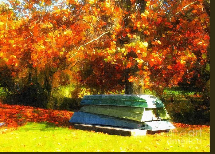 Fall Greeting Card featuring the photograph Stack Of Boats by Kathy Jennings