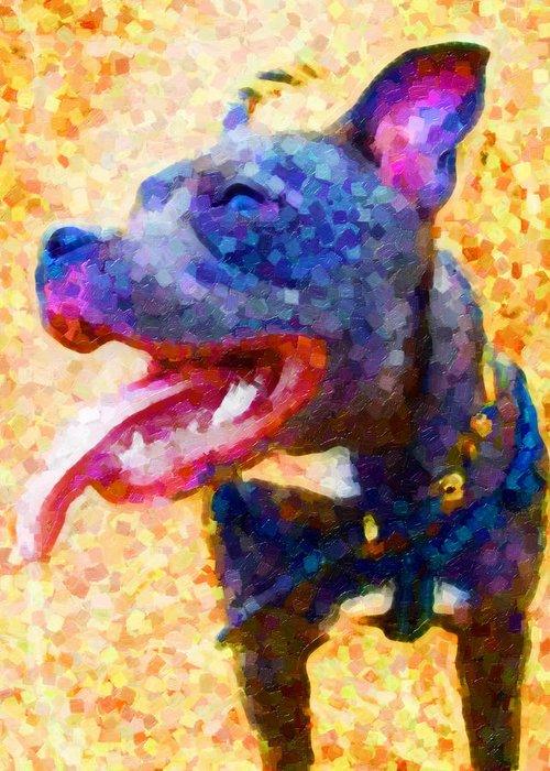 Staffordshire Bull Terrier Greeting Card featuring the painting Staffordshire Bull Terrier In Oil by Michael Tompsett