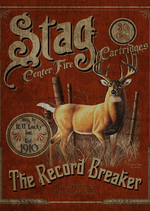 Cynthie Fisher Greeting Card featuring the painting Stag Record Breaker Sign by JQ Licensing