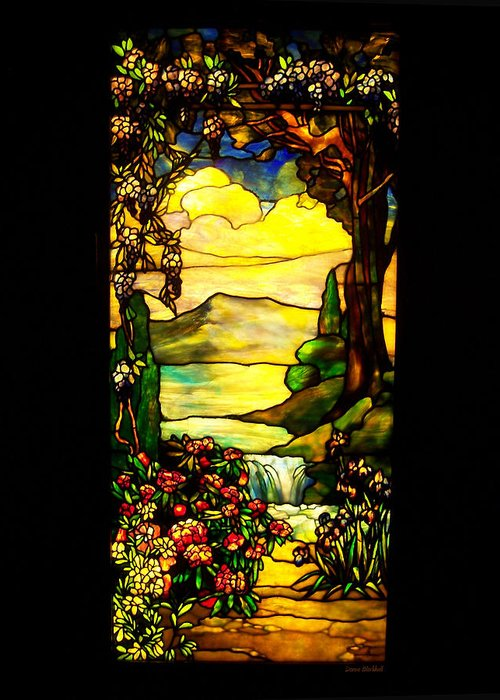 Stained Glass Greeting Card featuring the photograph Stained Landscape by Donna Blackhall