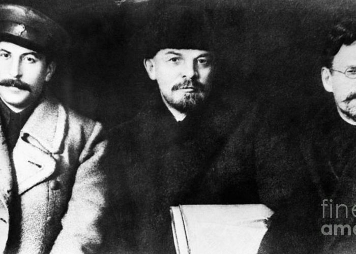 1919 Greeting Card featuring the photograph Stalin, Lenin & Trotsky by Granger
